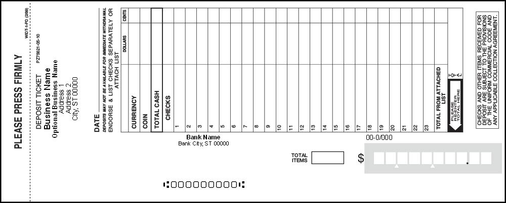 SAMPLE DEPOSIT TICKET – Sample Tickets